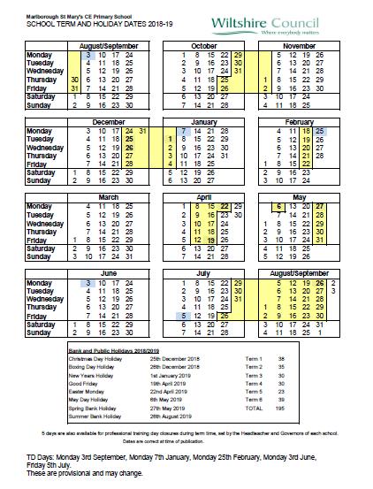 term dates and td days marlborough st mary s ce primary school